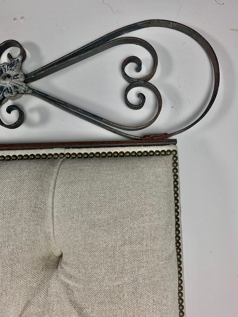 King Size Linen Upholstered Wrought Iron Scrolled Headboard For Sale 5