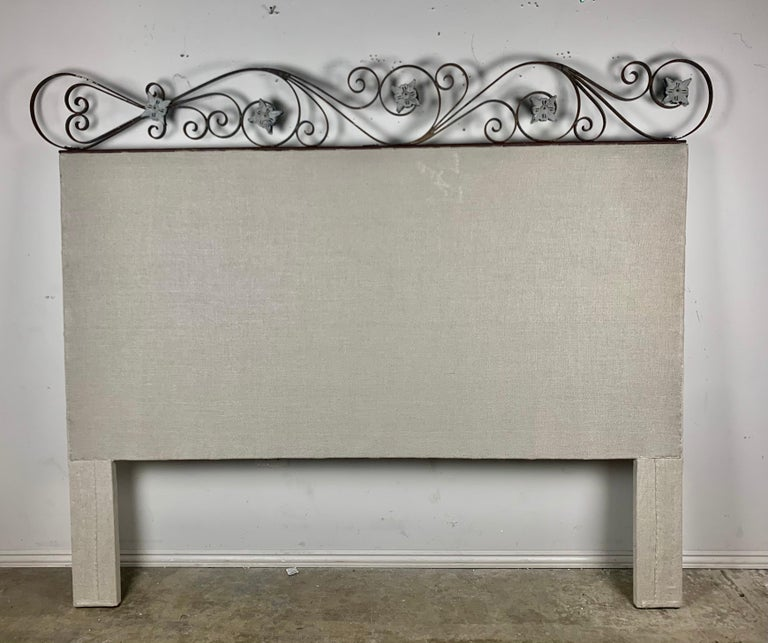 King Size Linen Upholstered Wrought Iron Scrolled Headboard For Sale 6