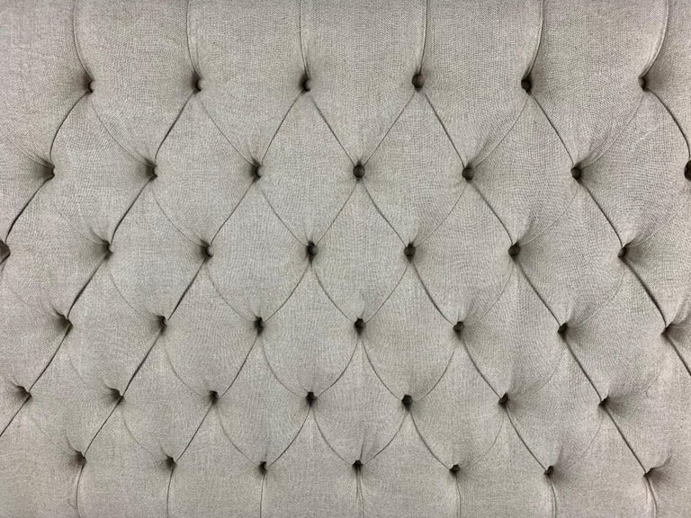 Rococo King Size Linen Upholstered Wrought Iron Scrolled Headboard For Sale