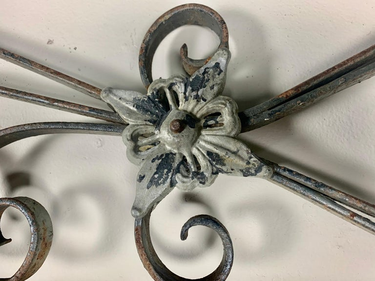 19th Century King Size Linen Upholstered Wrought Iron Scrolled Headboard For Sale