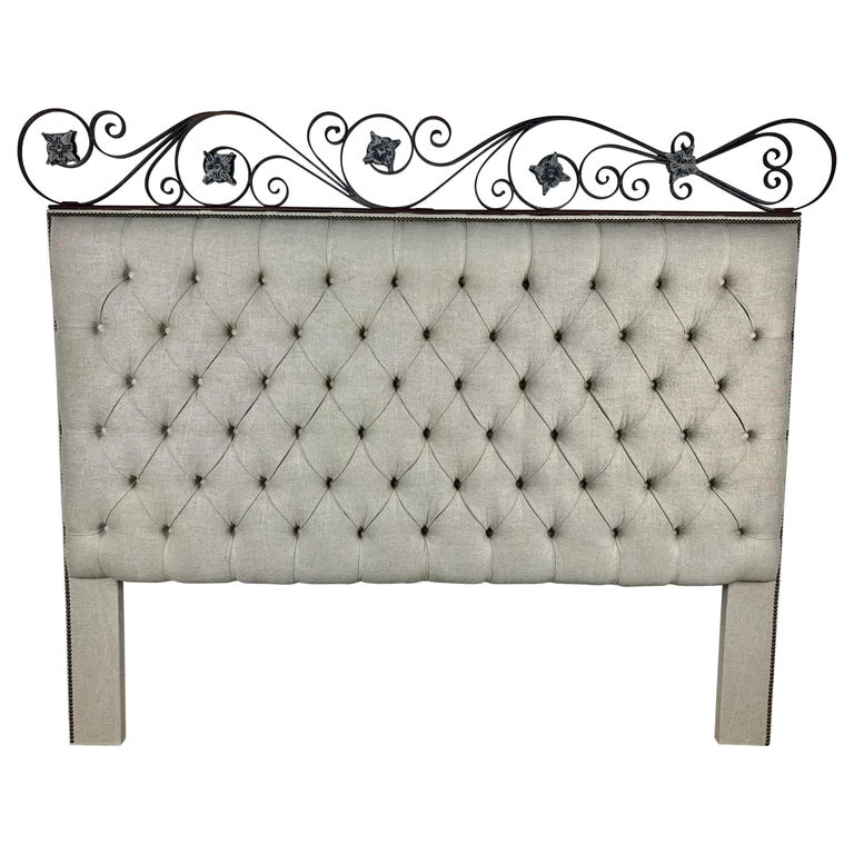 King Size Linen Upholstered Wrought Iron Scrolled Headboard For Sale