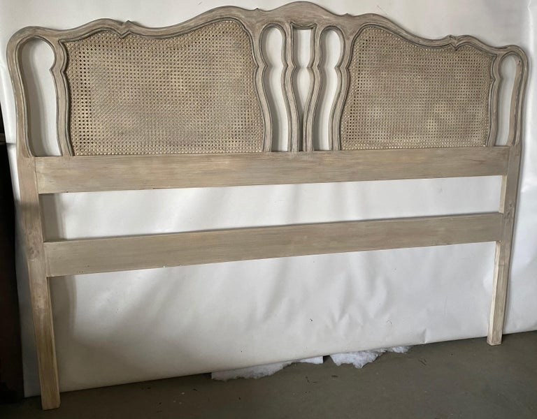 Vintage French Louis XV Provincial style painted king size headboard with caning. This king size bed is suitable for many decors -- Neoclassical, Hollywood Regency, Swedish Gustavian or contemporary modern decor.