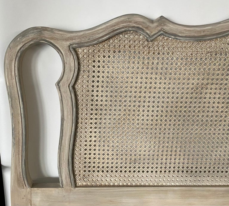 20th Century King Size Louis XV Style Caned Headboard For Sale