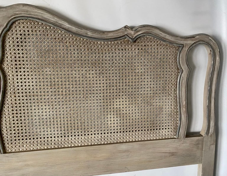 Wood King Size Louis XV Style Caned Headboard For Sale