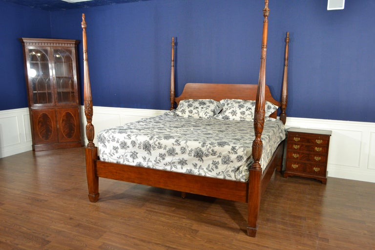 King Size Mahogany Rice Carved Poster Bed by Leighton Hall In New Condition For Sale In Suwanee, GA