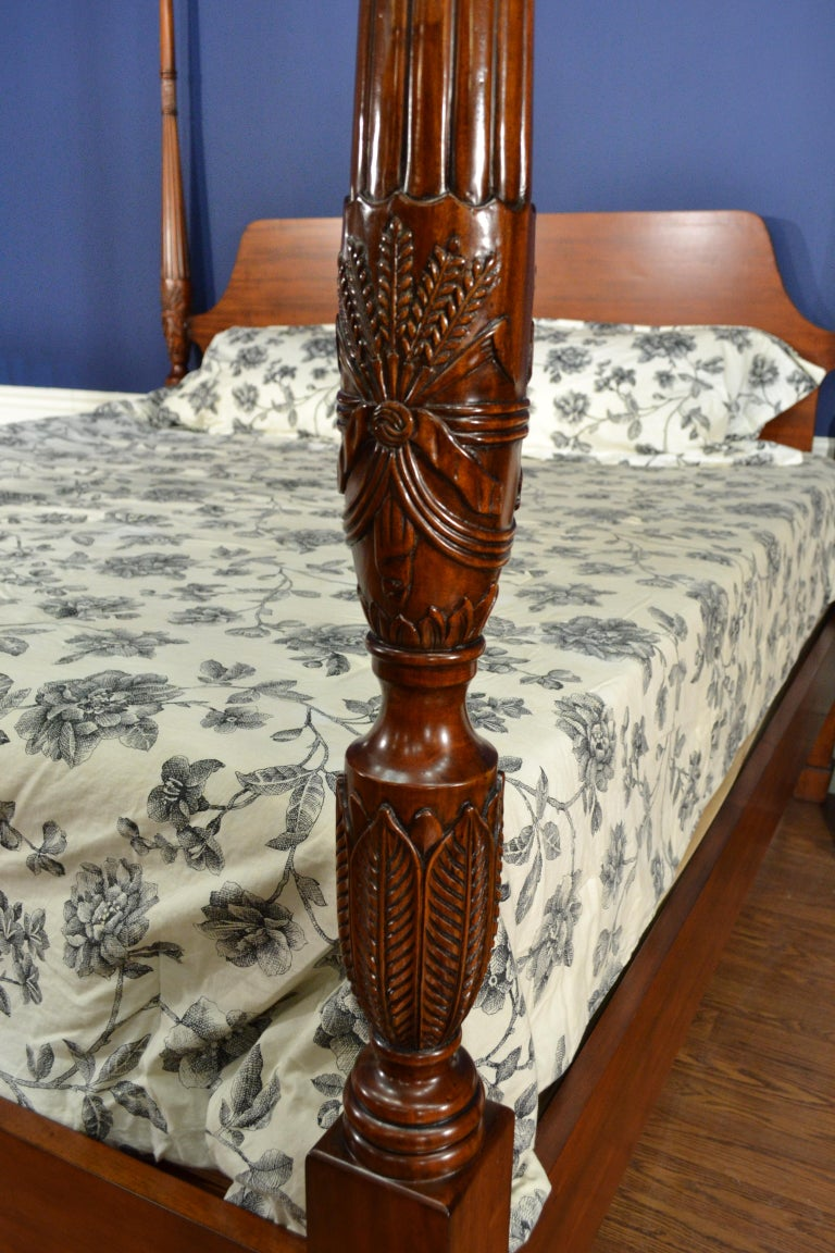 King Size Mahogany Rice Carved Poster Bed by Leighton Hall For Sale 1