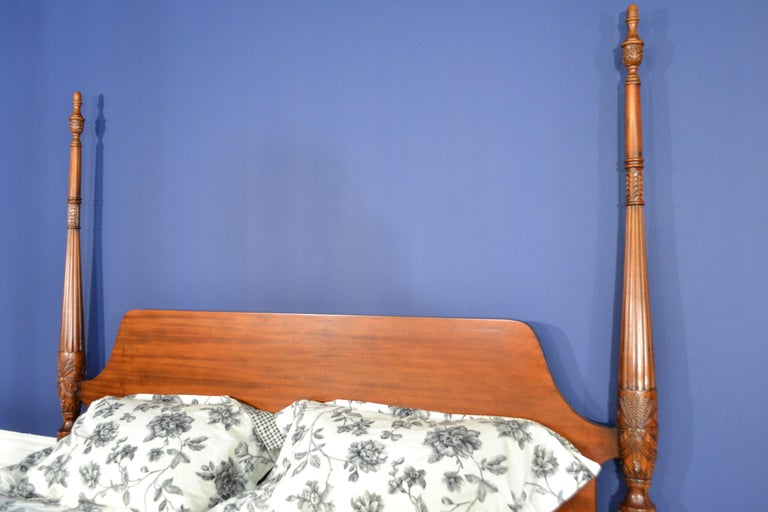 King Size Mahogany Rice Carved Poster Bed by Leighton Hall For Sale 2