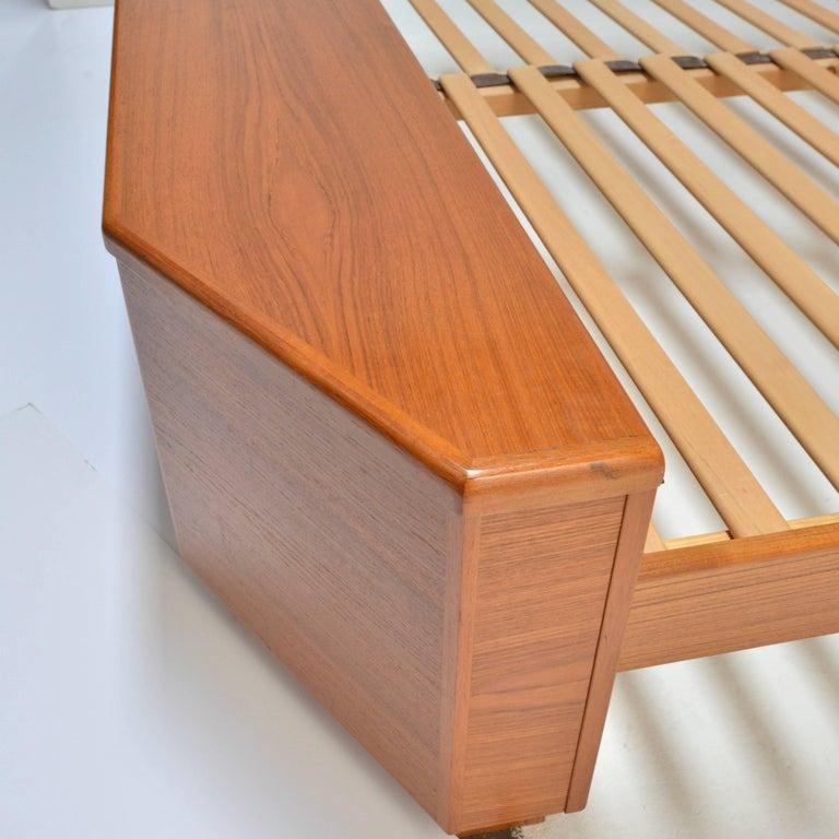 Scandinavian Modern King Size Platform Bed by Danish Modernist Laurits M Larsen For Sale