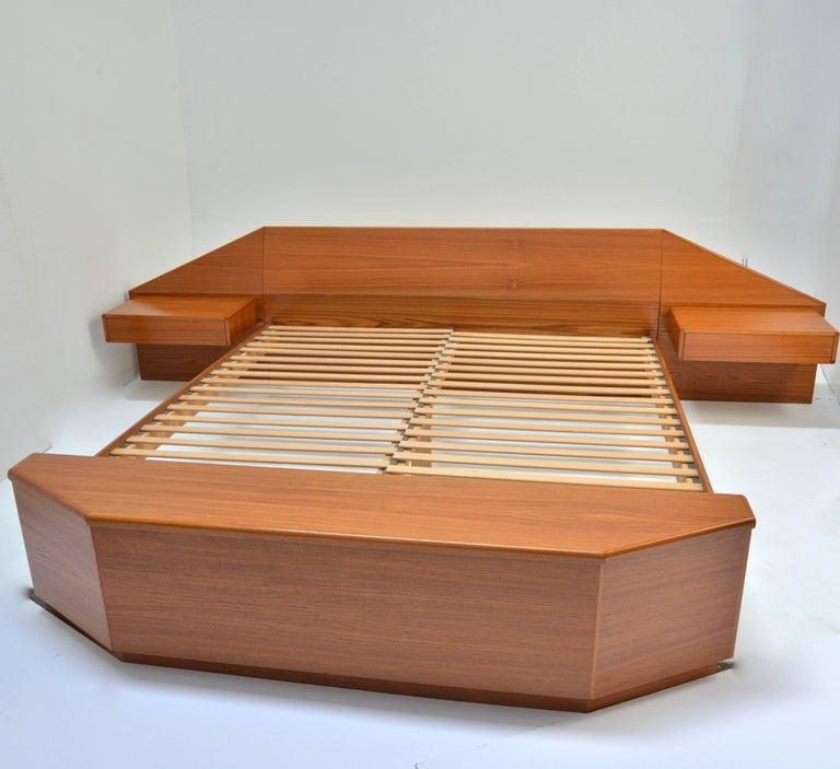Teak King Size Platform Bed by Danish Modernist Laurits M Larsen For Sale