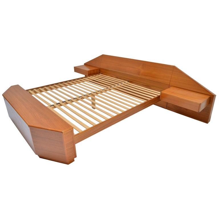King Size Platform Bed by Danish Modernist Laurits M Larsen For Sale
