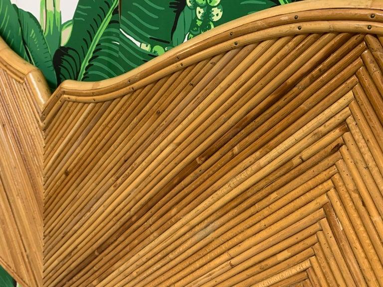 Bohemian King Size Split Reed Rattan Headboard For Sale