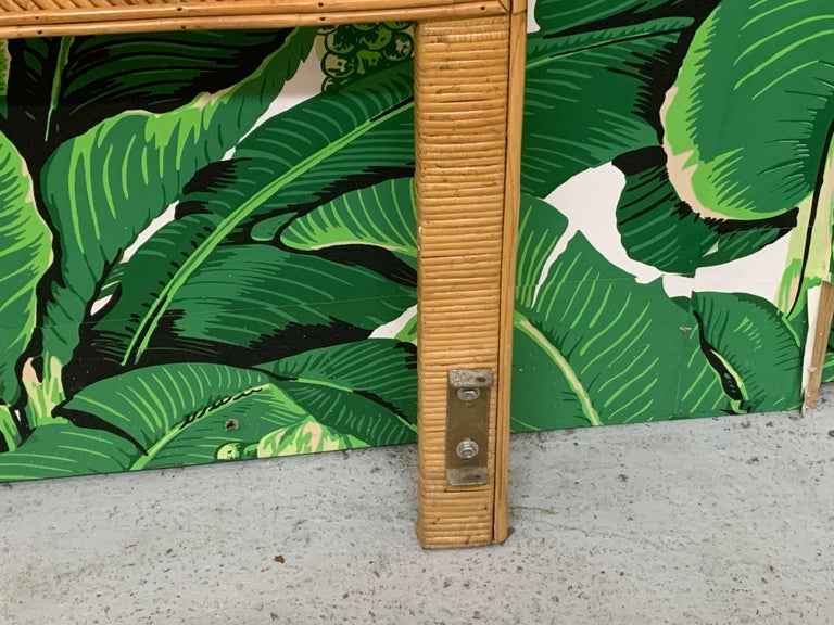 King Size Split Reed Rattan Headboard In Good Condition For Sale In Jacksonville, FL