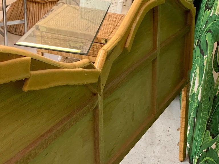 Late 20th Century King Size Split Reed Rattan Headboard For Sale