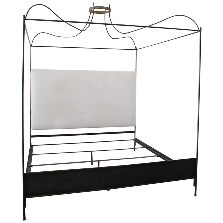King Size Venetian Iron Canopy Bed With Upholstered Antique Linen