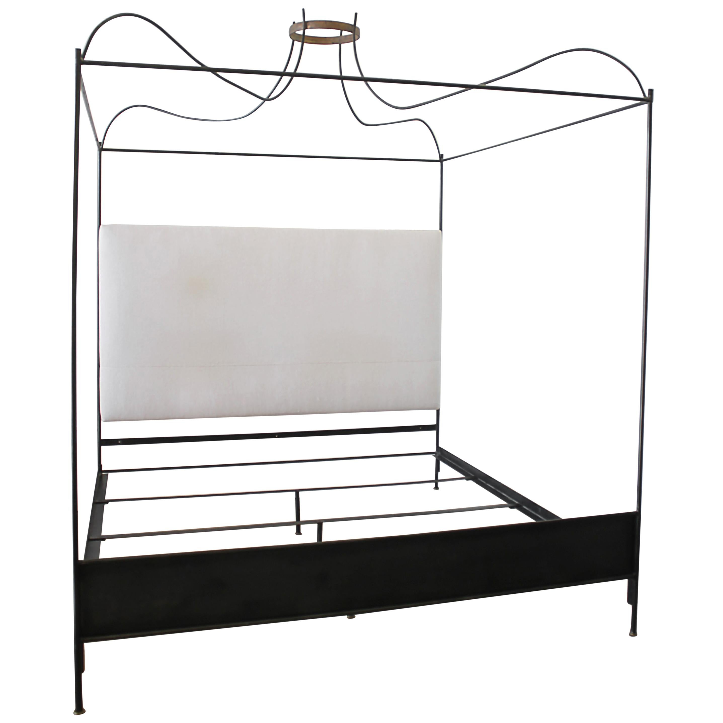 King Size Venetian Iron Canopy Bed with Upholstered Antique Linen Headboard For Sale  sc 1 st  1stDibs & King Size Venetian Iron Canopy Bed with Upholstered Antique Linen ...