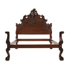 King Solid Mahogany Hand Carved Spanish Rococo Style Bed with Ball & Claw Foot
