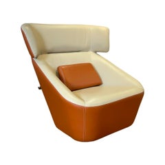 King Spencer Club Chair with Two-Tone 'Beige-Orange' Italian Leather Upholstery