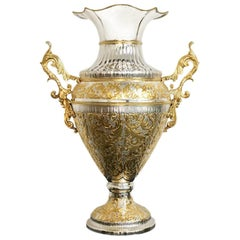 King, Sterling Silver Partially Gilt Vase, Made in Italy