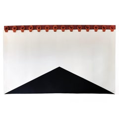 King Summit Wall Tapestry Headboard by Moses Nadel in black, cream and saddle