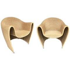 King Tubby Rattan Armchairs by Platt & Young for Driade, Italy, 1998