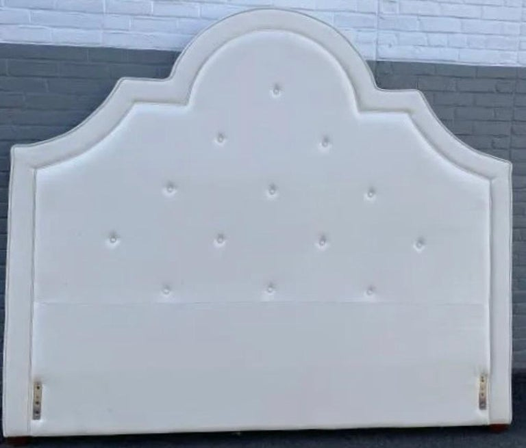 King Size tufted upholstered headboard. Measures: 74 inches high x 85.5 inches wide.