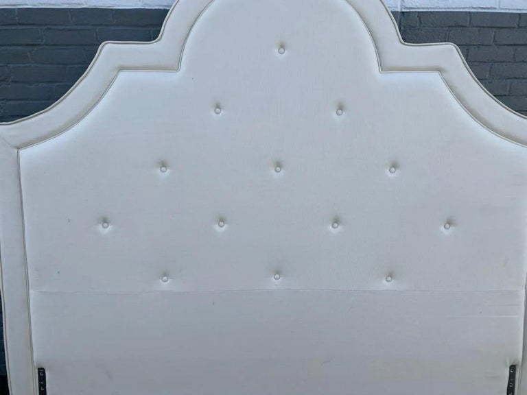 King Tufted Upholstered Headboard In Good Condition For Sale In Great Barrington, MA