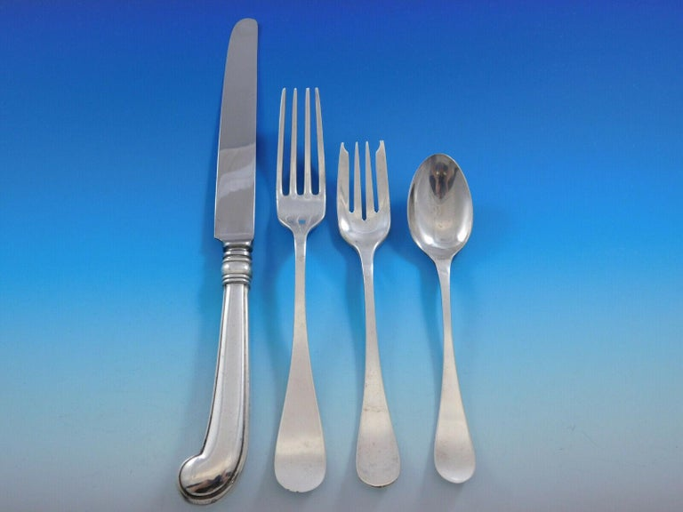 King William, Tiffany & Co. Sterling Silver Flatware Set for 8 Dinner 92 Pieces In Good Condition In Big Bend, WI