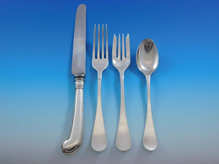 Late 19th Century King William, Tiffany & Co. Sterling Silver Flatware Set for 8 Dinner 92 Pieces