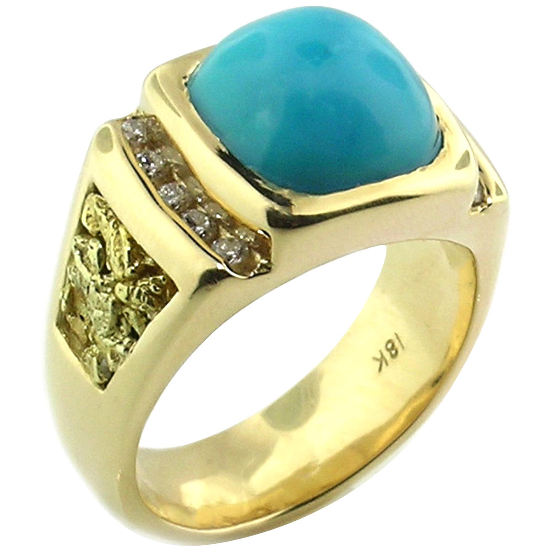 Kingman Mine Turquoise, Diamond and Gold Nugget 18 Karat Men's Ring