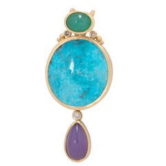 Kingman Turquoise 31ct Persephone Pendant with Holly Agate & Chrysoprase 18K