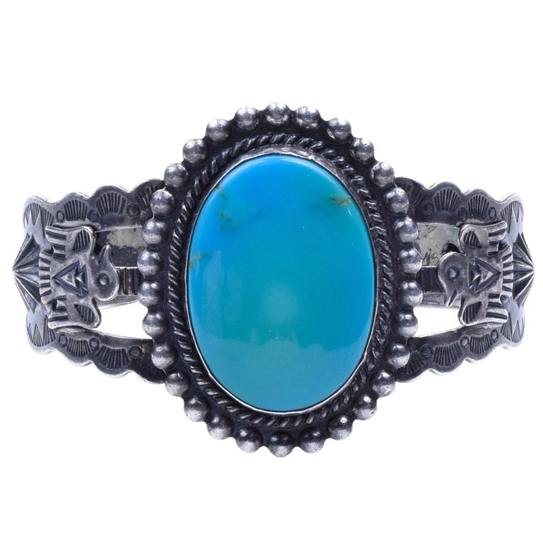 Kingman Turquoise Navajo Bracelet For Sale