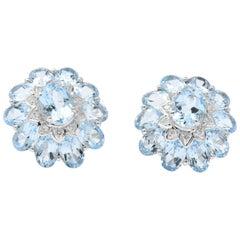 Gumps  Contemporary Blue Topaz Diamond 18 Karat White Gold Earrings