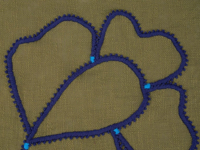 Hand-Crafted Kingsmead Hand Embroidered Green Throw Blanket For Sale