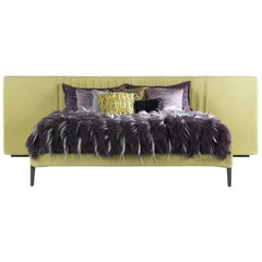 Kingston Bed in Leather with Metal Legs by Roberto Cavalli