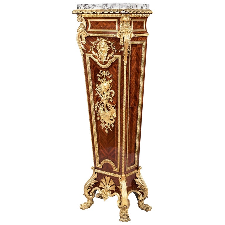 Kingwood Pedestal Cupboard in the Louis XIV Manner by Henry Dasson For Sale