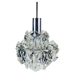 Kinkeldey Crystal Ice Glass Chandelier, 1960s, Germany