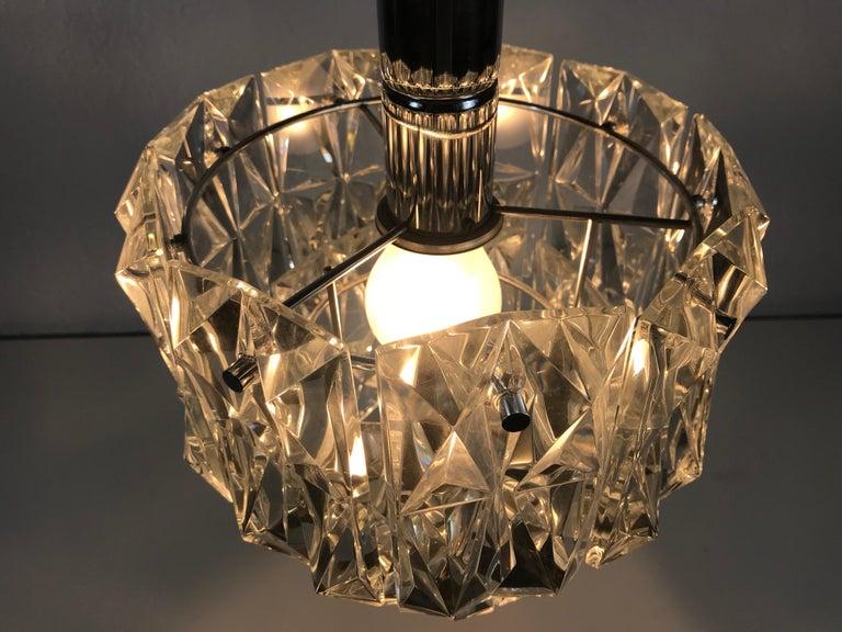 Mid-Century Modern Kinkeldey Crystal Ice Glass Chandelier, circa 1960s For Sale