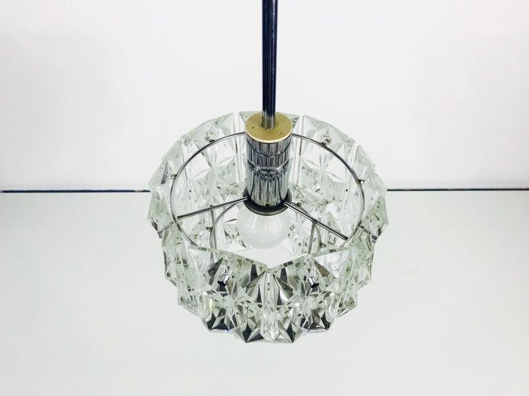German Kinkeldey Crystal Ice Glass Chandelier, circa 1960s For Sale