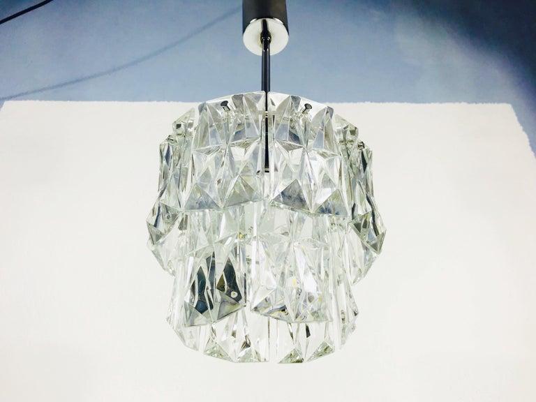 Metal Kinkeldey Crystal Ice Glass Chandelier, circa 1960s For Sale