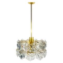 Kinkeldey Midcentury Polished Brass and Crystal Glass Chandelier, circa 1960s
