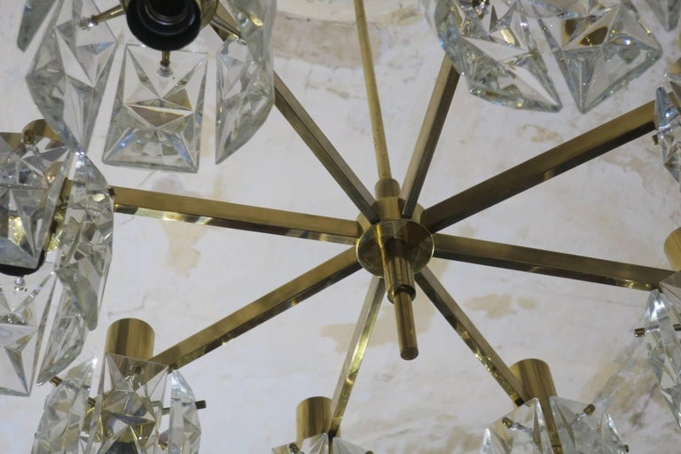 Mid-Century Modern Kinkeldey Midcentury Faceted Crystal and Brass Chandelier, 1960s For Sale