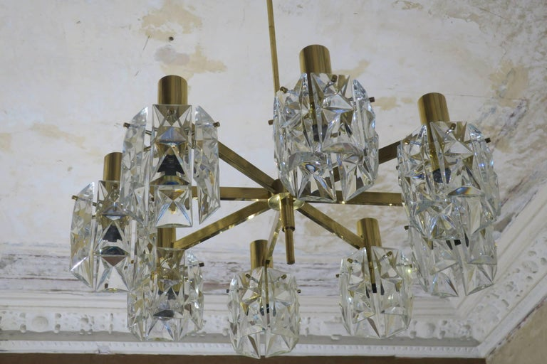 20th Century Kinkeldey Midcentury Faceted Crystal and Brass Chandelier, 1960s For Sale