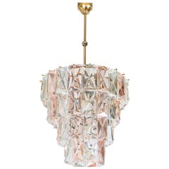 Kinkeldey Pink and Clear Crystal Glass Chandelier