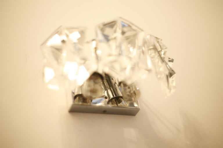 Kinkeldey  Sconces Chrome and Crystal, 1970 In Good Condition For Sale In New York, NY