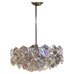 Kinkeldey Three-Tier Faceted Crystal Geometric Chandelier, Steel, 1965 Germany