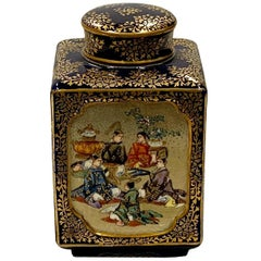 Kinkozan Japanese Satsuma, Meiji Period Tea Caddy, 19th Century