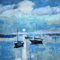 Harbor Moon Light, Original Painting