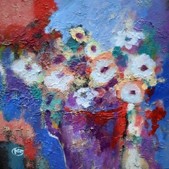 White Flowers, Abstract Painting