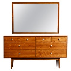 Kipp Stewart Declaration Dresser and Mirror for Drexel, 1950s, Restored, Signed