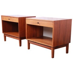 Kipp Stewart for Calvin Furniture Mid-Century Modern Walnut Nightstands, Pair